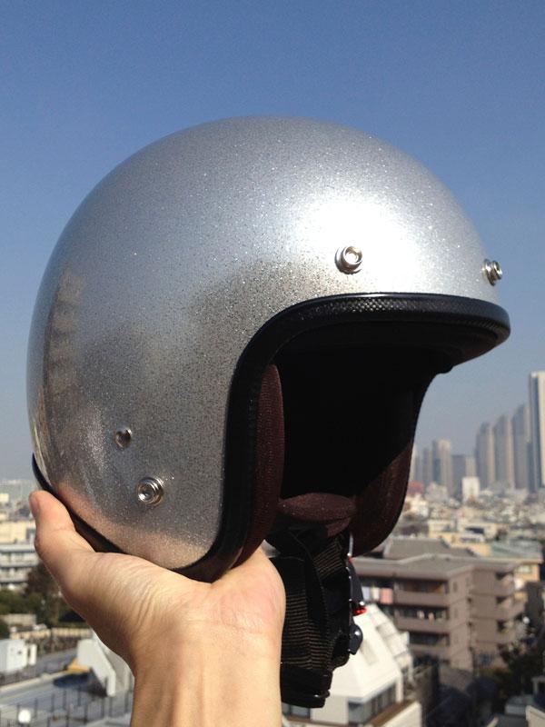 72JAMのジェットヘルメット シルバーフレーク